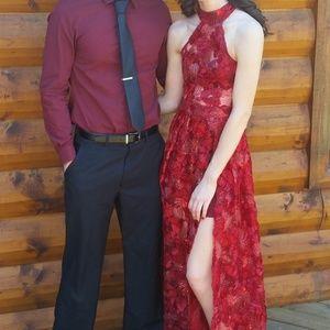 Windsor Long Red Dress w/ Double Slit